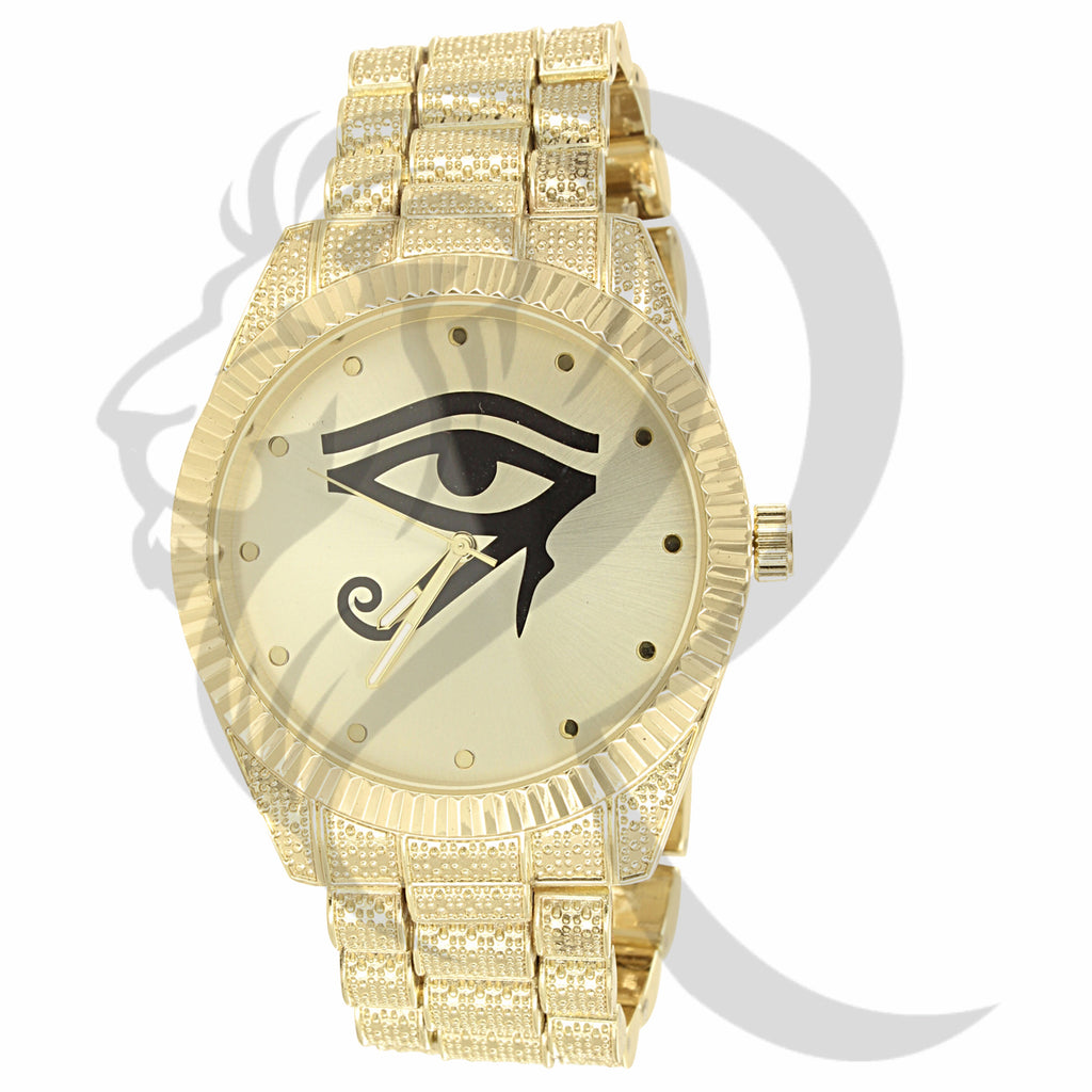 44MM Round Fluted Rim Evil Eye Dial Plain Metal Men's Watch