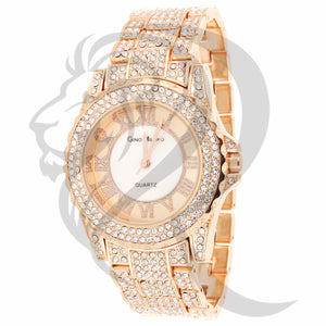 38MM Rose Gold Tone IcedOut Women's Watch