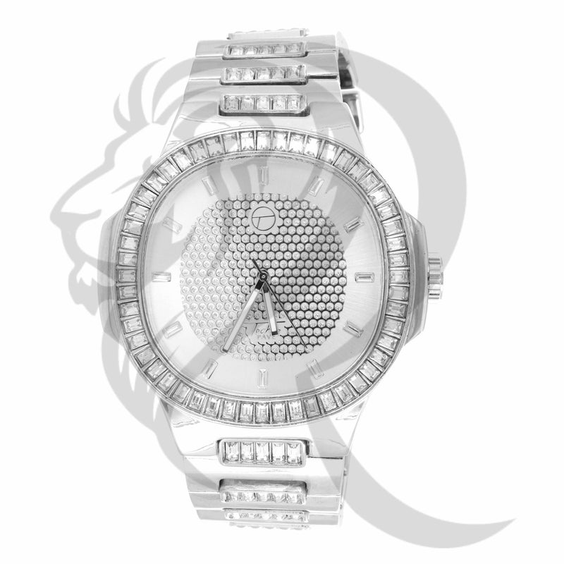 51MM Big Face Baguette Stones IcedOut Links Techno Pave Watch