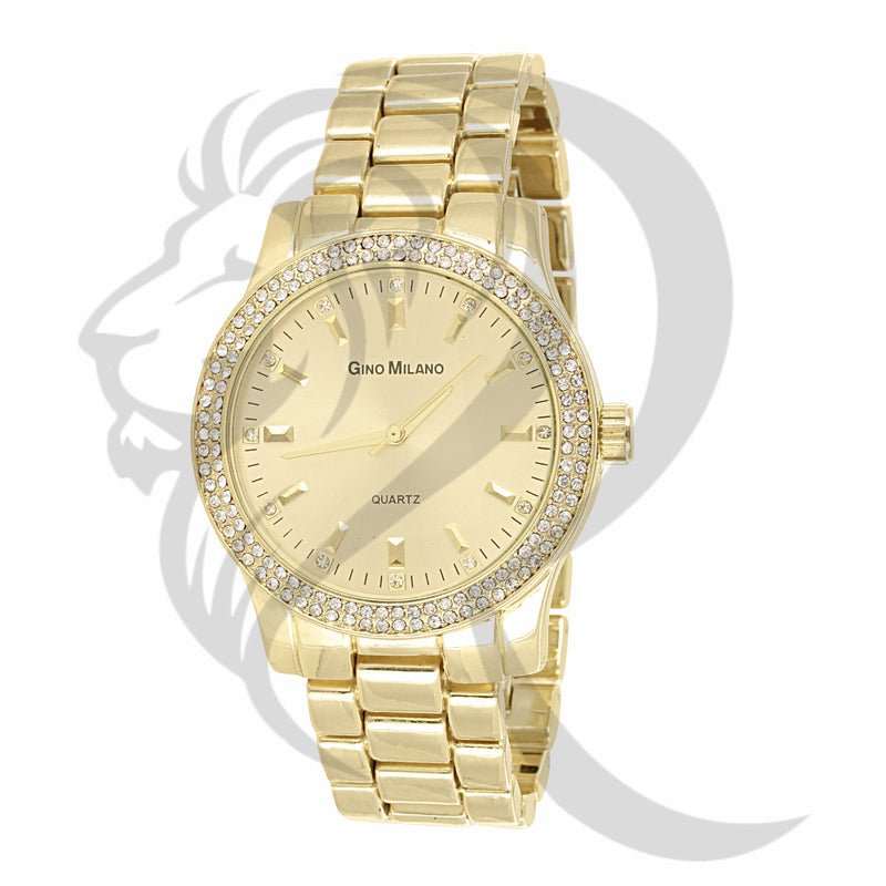 40MM Round IcedOut Rim Plain Yellow Tone Women's Watch