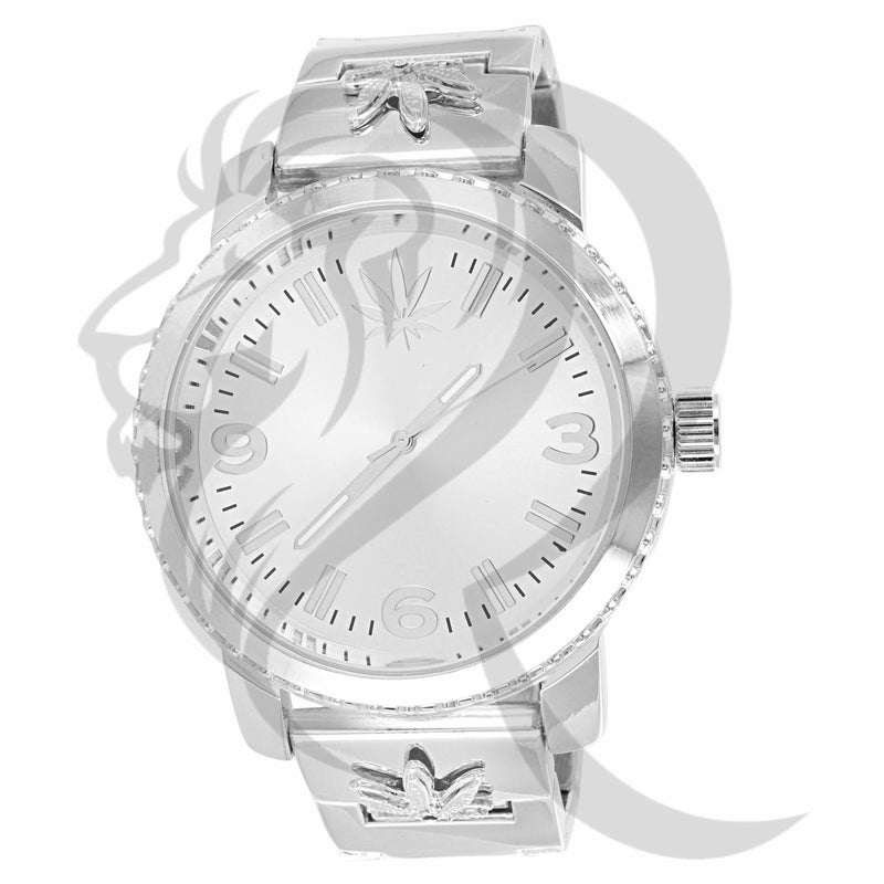 49MM Plain White Marijuana Leaf Symbol Watch
