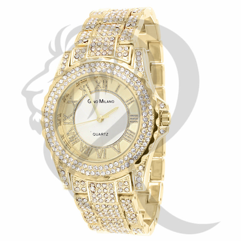 Yellow Gold Finish IcedOut 38MM Ladies Watch