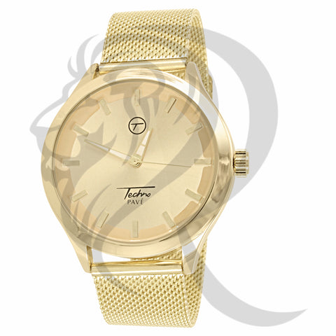 Plain Yellow Gold 42MM Mesh Band Watch
