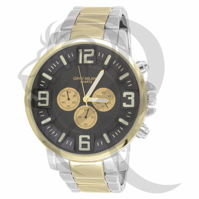 46MM Black Dial Round Face Yellow & White Plain Metal Watch