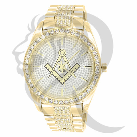 45MM IcedOut Masonic Symbol Men's Watch