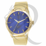Blue Dial Plain Yellow 42MM Mesh Band Watch
