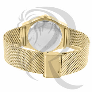 40MM Yellow Gold Mesh Band Color Dial Watch