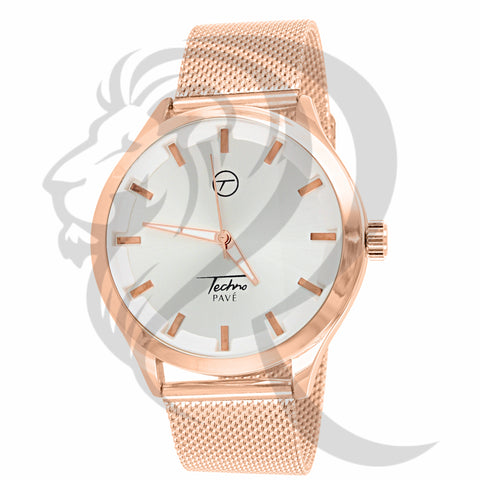 White Dial Rose Gold Mesh Band 42MM watch
