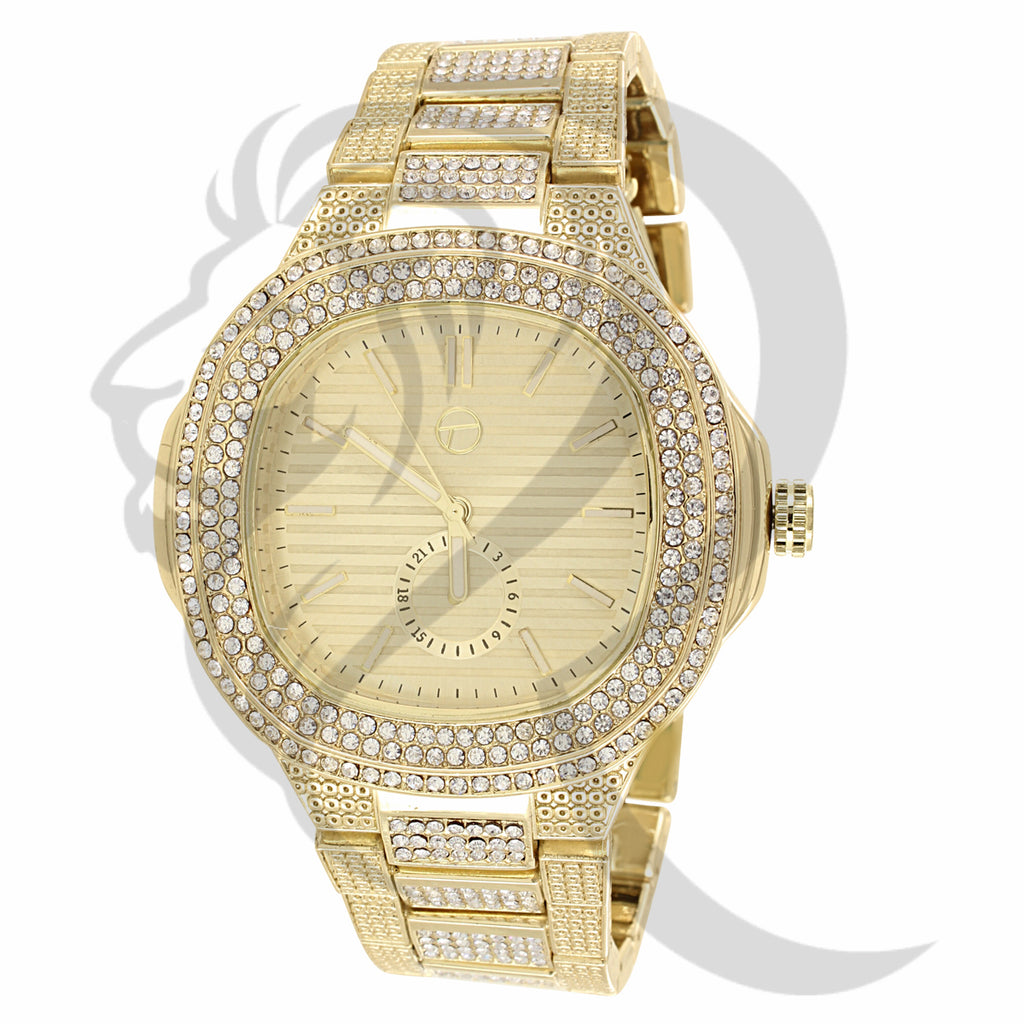 48MM Big Face Yellow Gold Tone IcedOut Techno Pave Watch