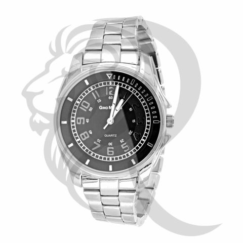 36MM Black Dial Plain White Watch