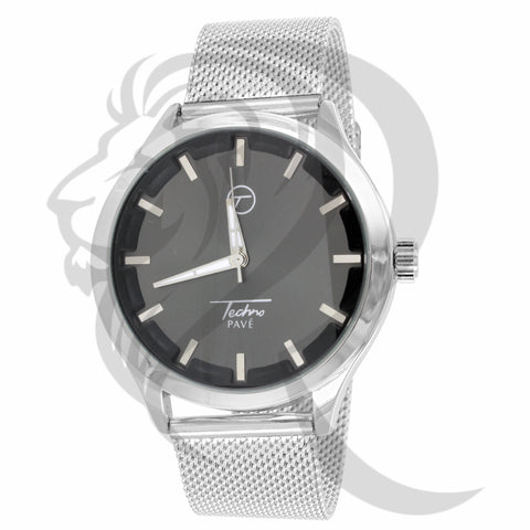 Plain Black & White 42MM Mesh Band Watch