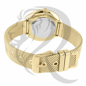 36MM Yellow Gold Mesh Band Ladies Watch