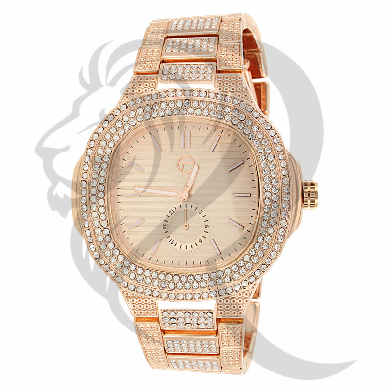 48MM Rose Gold Tone IcedOut Inspired Look Men's Watch