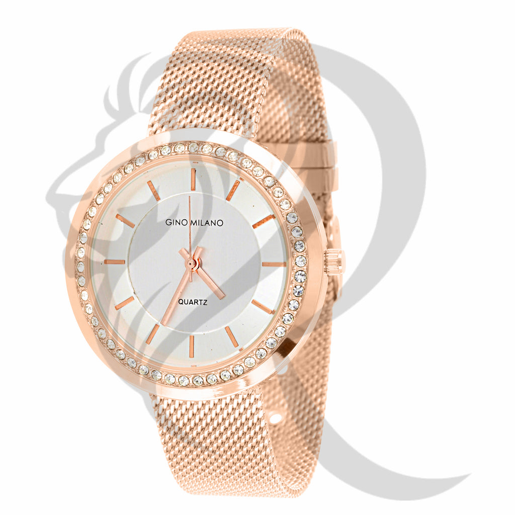 White Dial Rose Gold 36MM Mesh Band Watch
