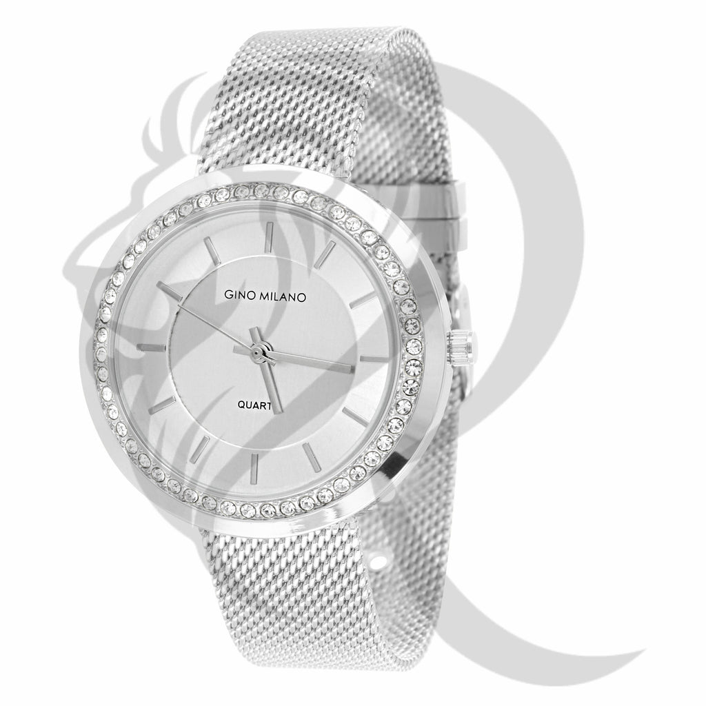 36MM IcedOut Rim White Gold Tone Mesh Band Watch