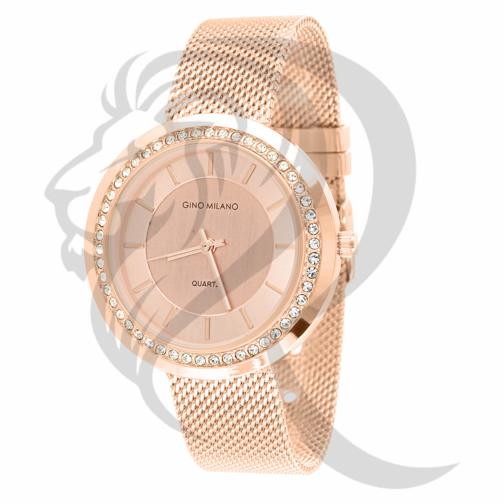 Rose Gold Tone Plain 36MM Mesh Band Watch