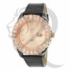 44MM Solitaire Rose Gold Leather Band Watch