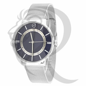 38MM Index Dial Plain White Gold Tone Mesh Band Watch