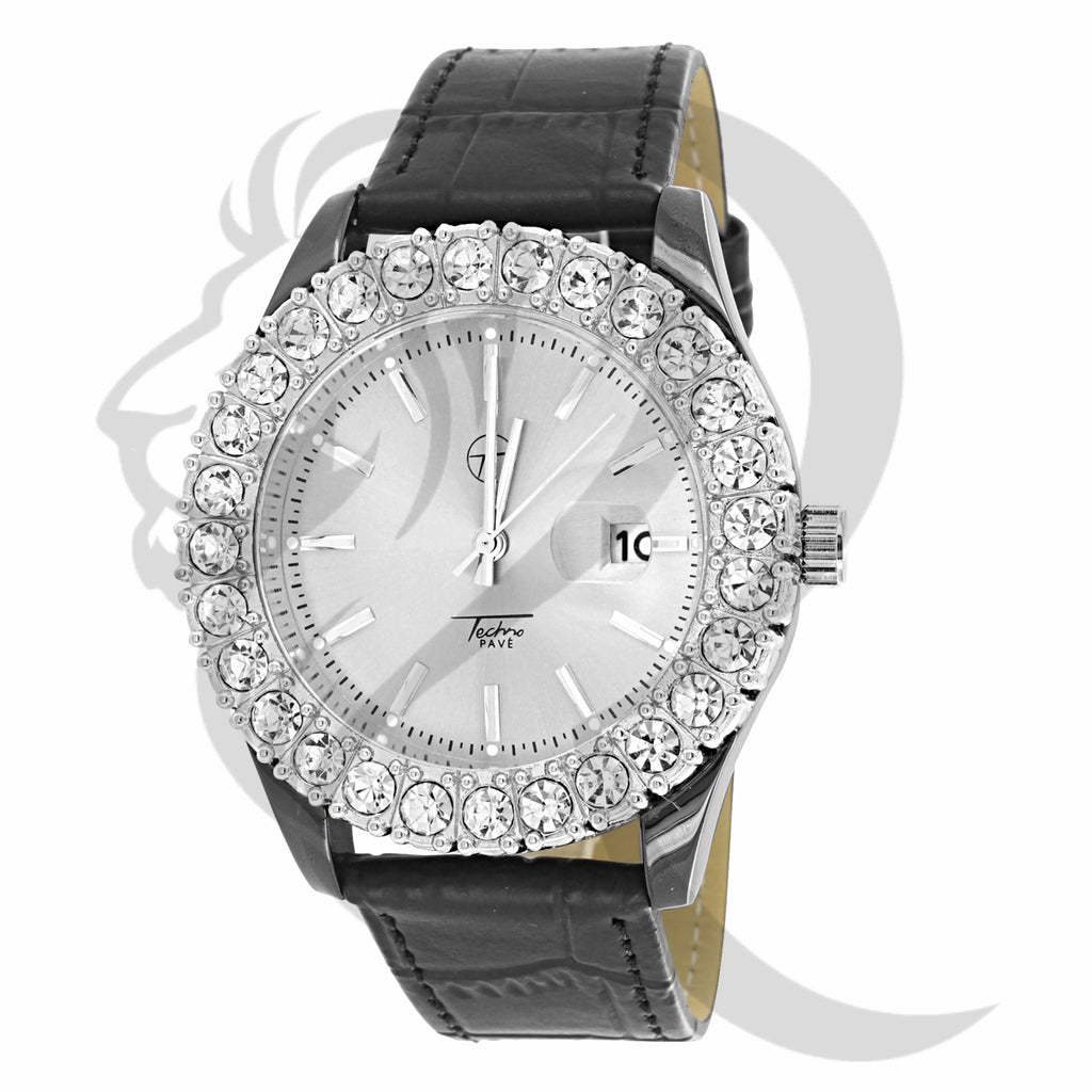 Solitaire Bezel 44MM Men's Techno Pave Watch