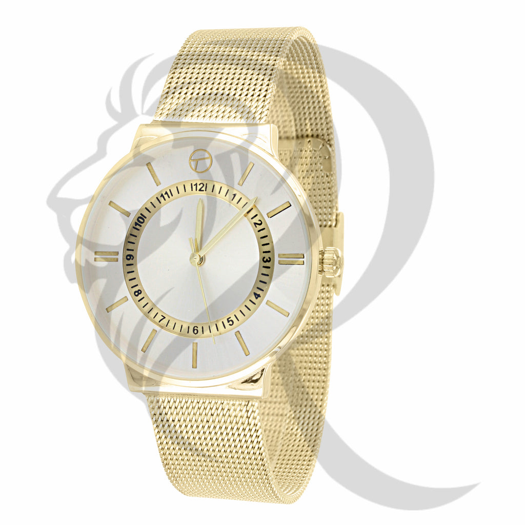 Yellow Tone 38MM Mesh Band Ladies Watch