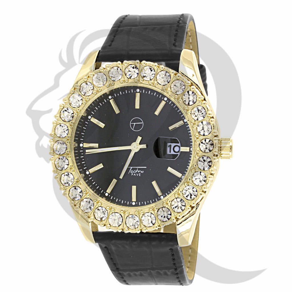 44MM Black Dial Solitaire Yellow Bezel Watch