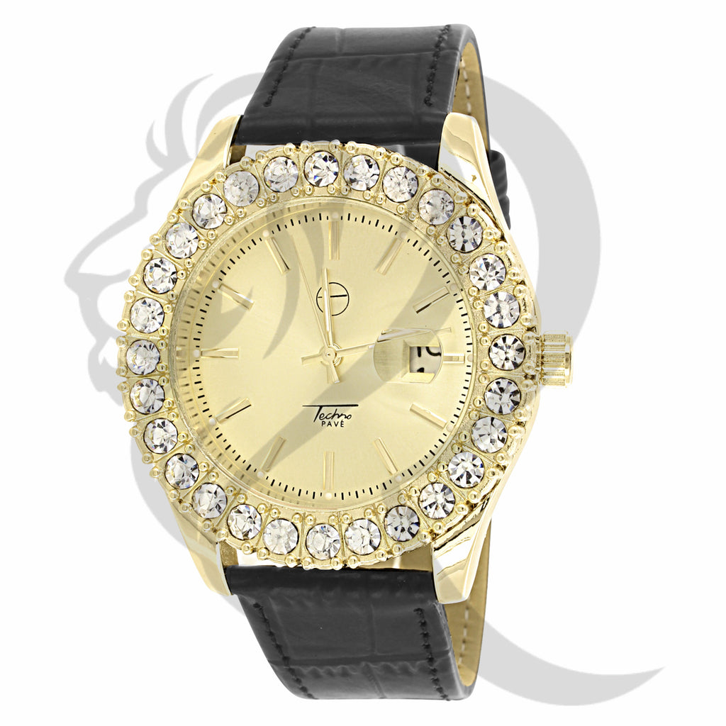 Yellow Dial Solitaire 44MM Leather Band Watch