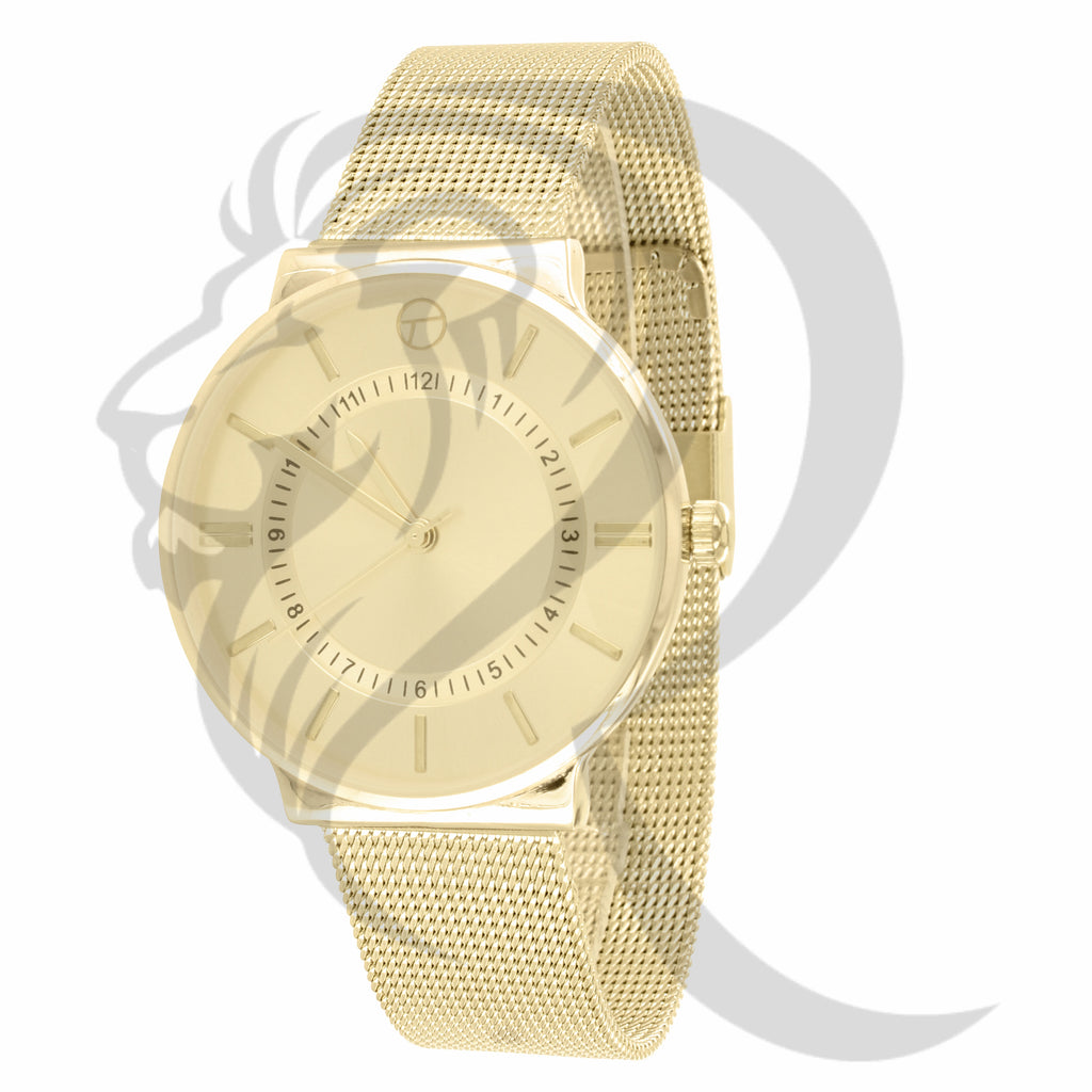38MM Plain Yellow Tone Mesh Band Ladies Techno Pave Watch