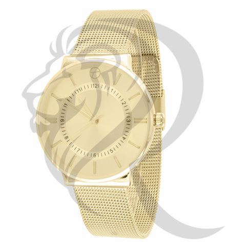 38MM Plain Yellow Tone Mesh Band Watch