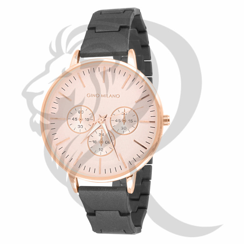 39MM Rose Gold Dial Black Band Watch