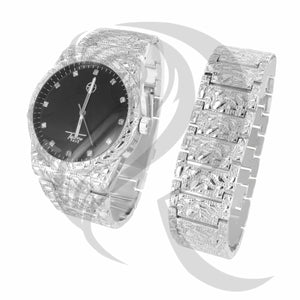 Black Dial 43MM White Nugget Watch Bracelet Set