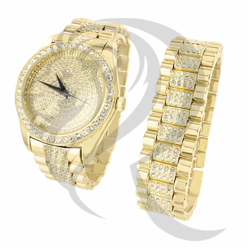 45MM IcedOut Yellow Watch Bracelet Combo