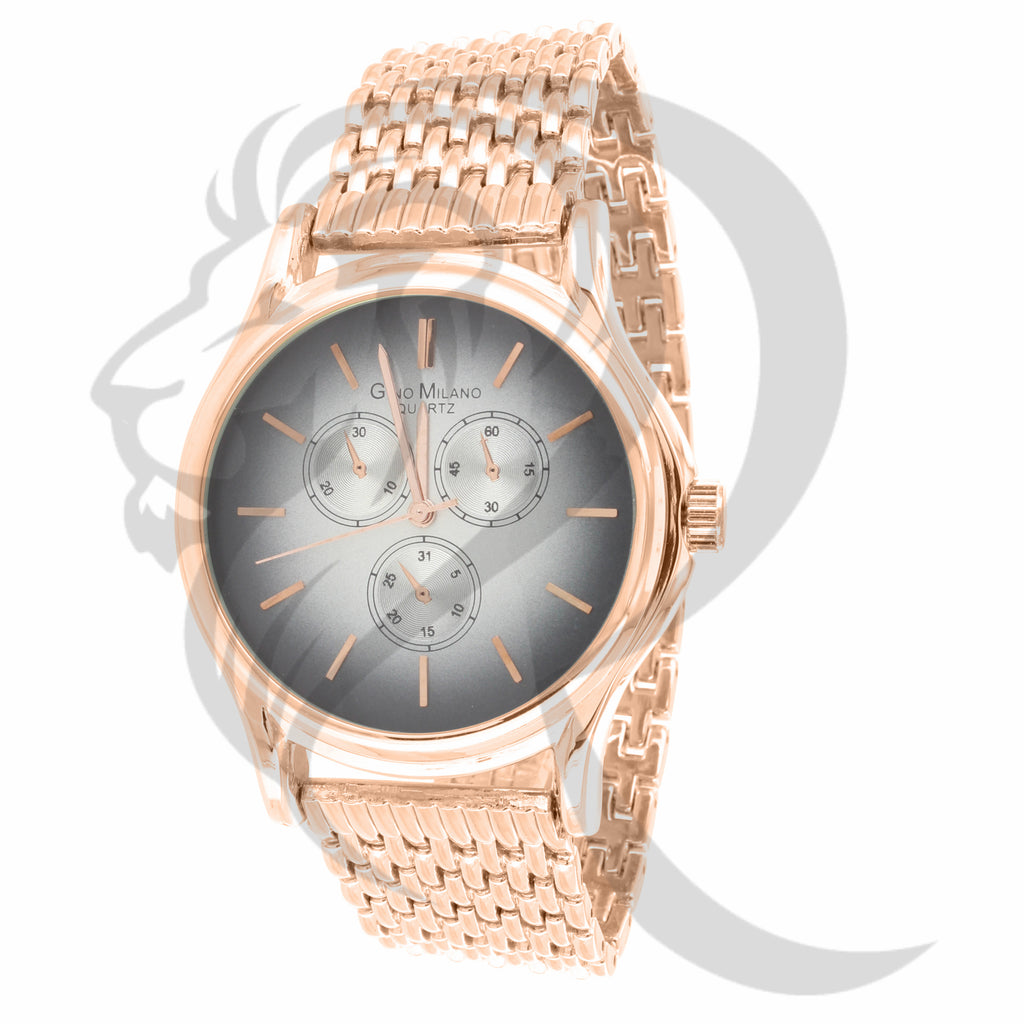 Plain Rose Gold Finish 42MM Ladies Watch