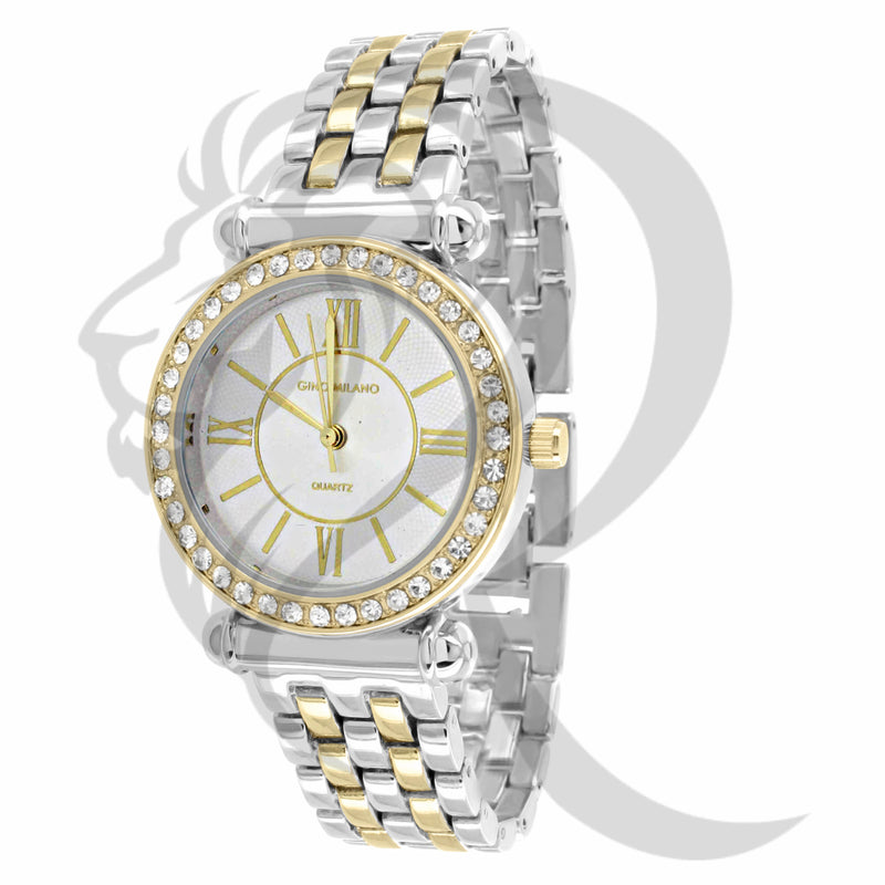 Yellow & White Plain 33MM ladies Watch