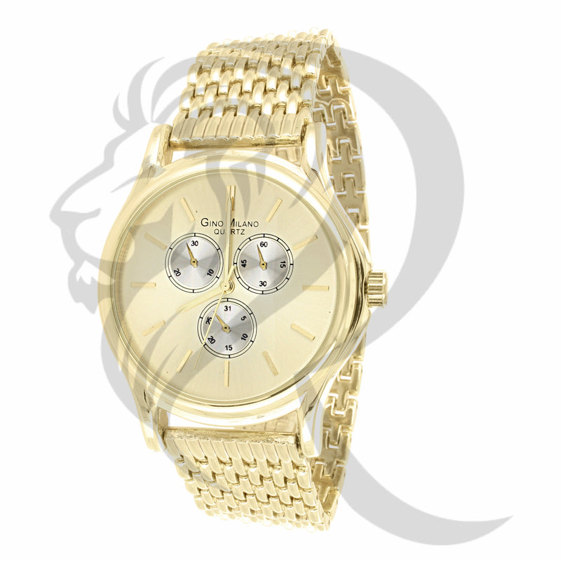4 Time Zones Plain Yellow 42MM Women's Watch