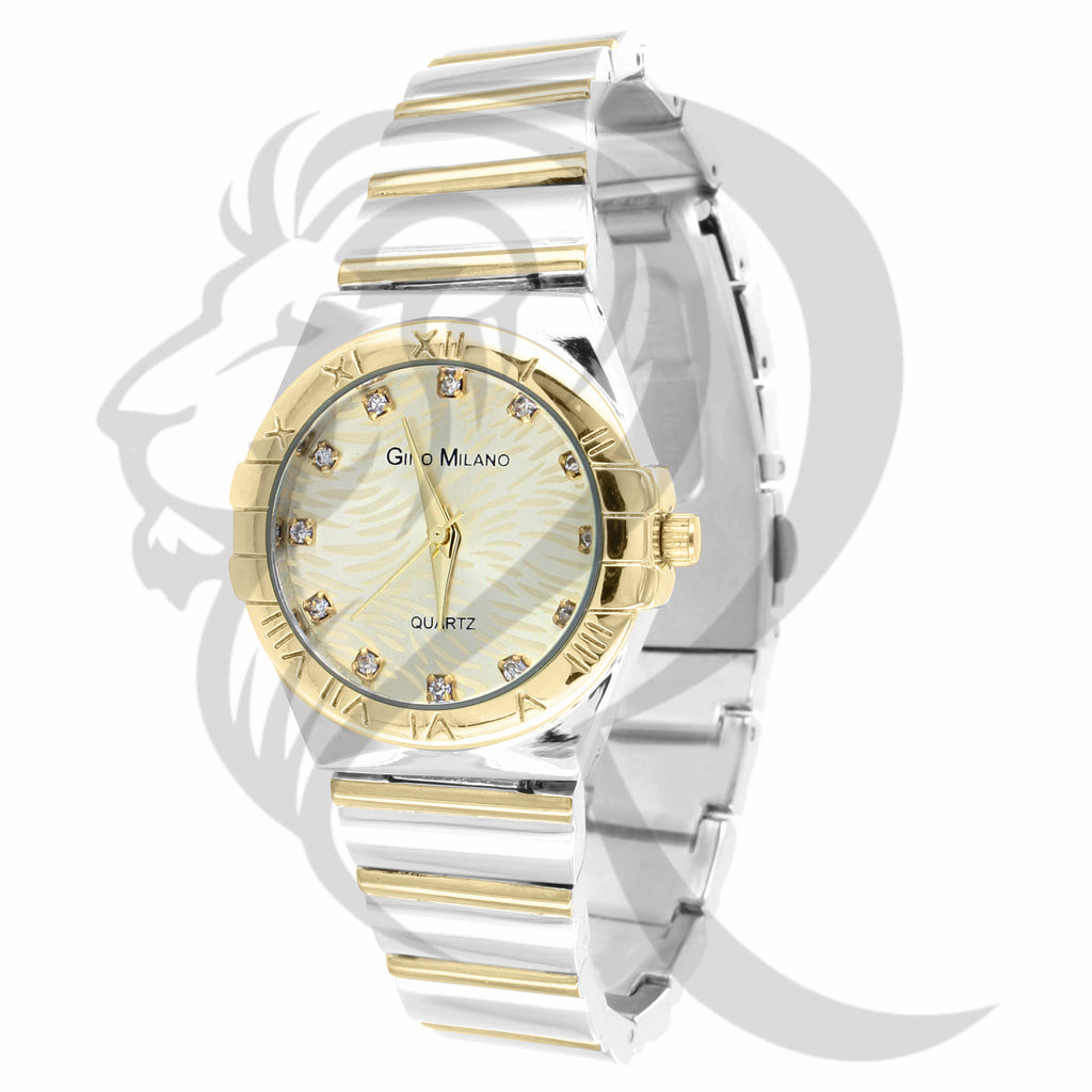 Yellow & White 30MM Plain Ladies Watch