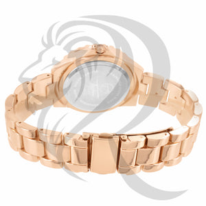 38MM IcedOut Face Rose Gold Tone Ladies Techno Pave Watch