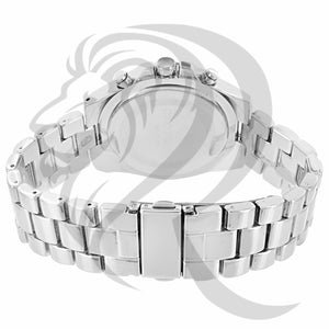 42MM White Gold Finish IcedOut Bezel Watch