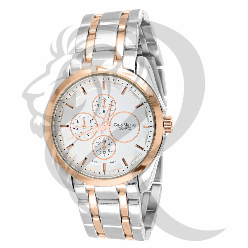 42MM Two-Tone Plain Rose White Watch
