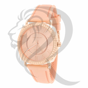 38MM Rose Tone Face Roman Numerals Dial Silicone Band Watch