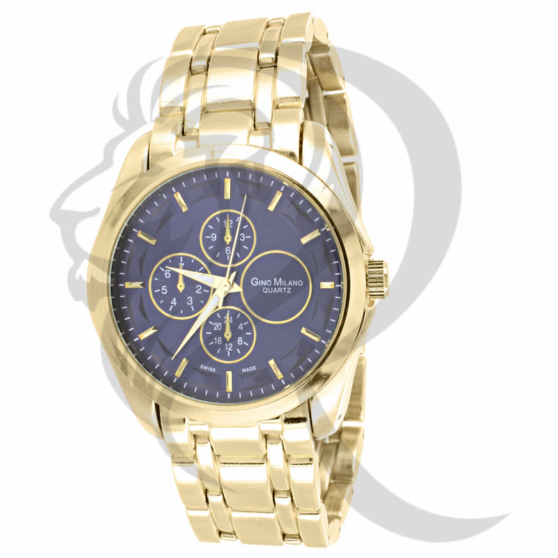 Blue Dial 42MM Plain Yellow Gold Watch