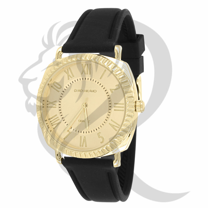 38MM Yellow Gold Tone Face Black Silicone Band Ladies Watch