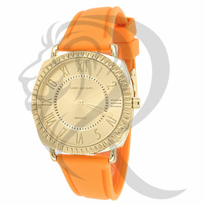 38MM Yellow Face Orange Silicone Band Women's Watch