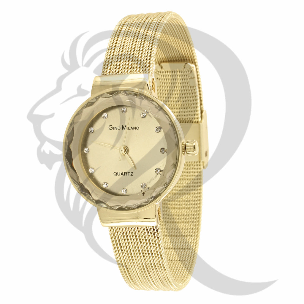 27MM Round Face Plain Mesh Band Gino Milano Watch