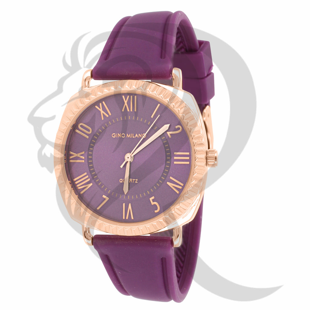 38MM Rose Fluted Rim Purple Silicone Band Gino Milano Watch