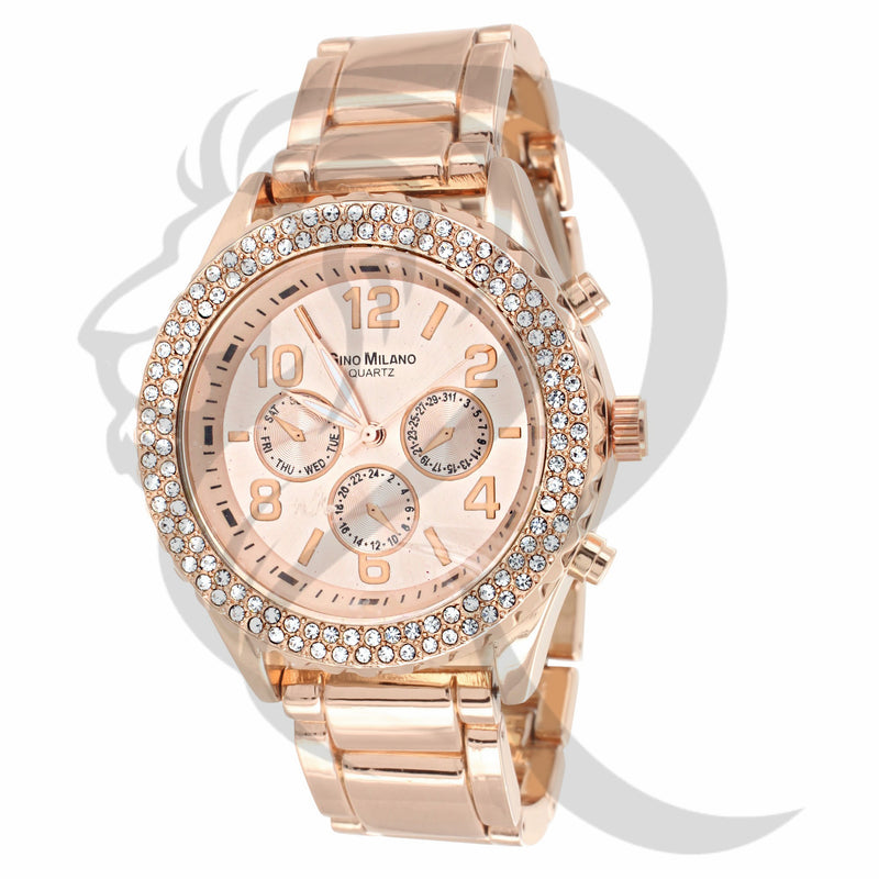43MM IcedOut Bezel Rose Gold Watch