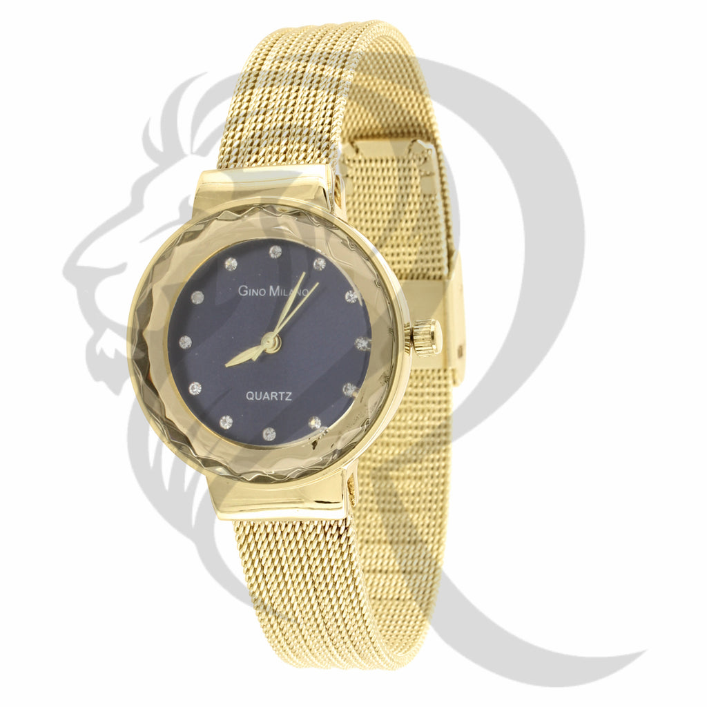 Blue Dial 27MM Round Face Plain Mesh Band Women's Watch