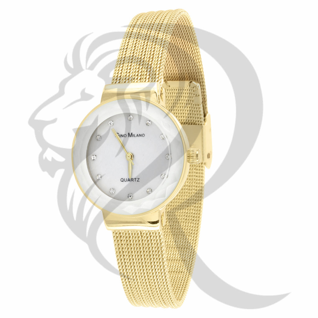 27MM White Dial Yellow Mesh Band Gino Milano Ladies Watch