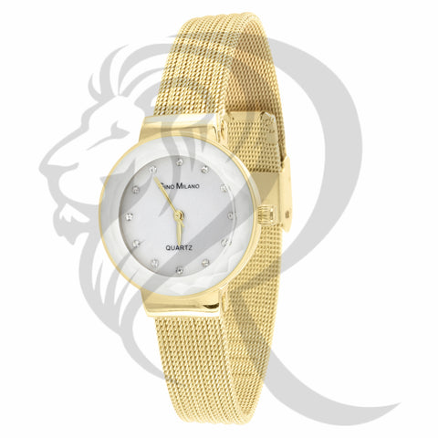27MM White Dial Yellow Mesh Band Watch