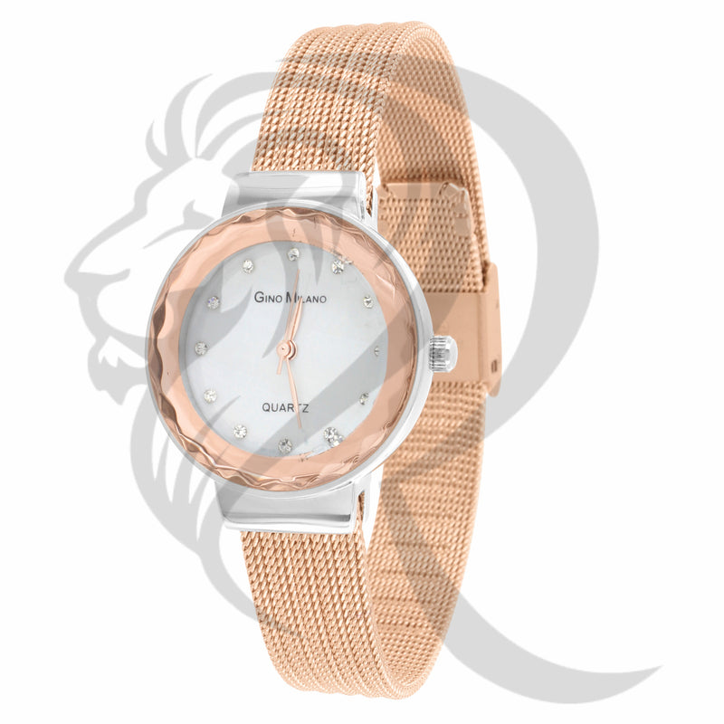 27MM White & Rose Two-Tone Face Mesh Band Watch
