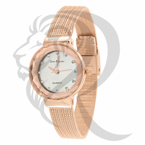 27MM Rose Gold Plain Mesh Band Watch